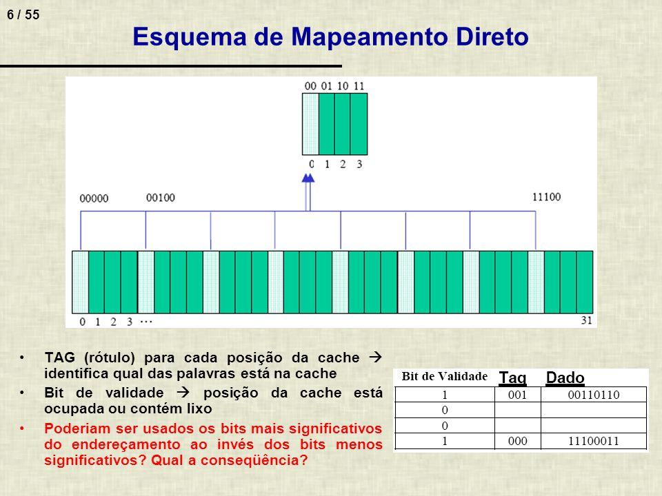 7 / 55 Acesso a Cache com Mapeamento Direto Passos para um acesso 1.Calcular o mod do endereço pelo número de posições da cache Ex.