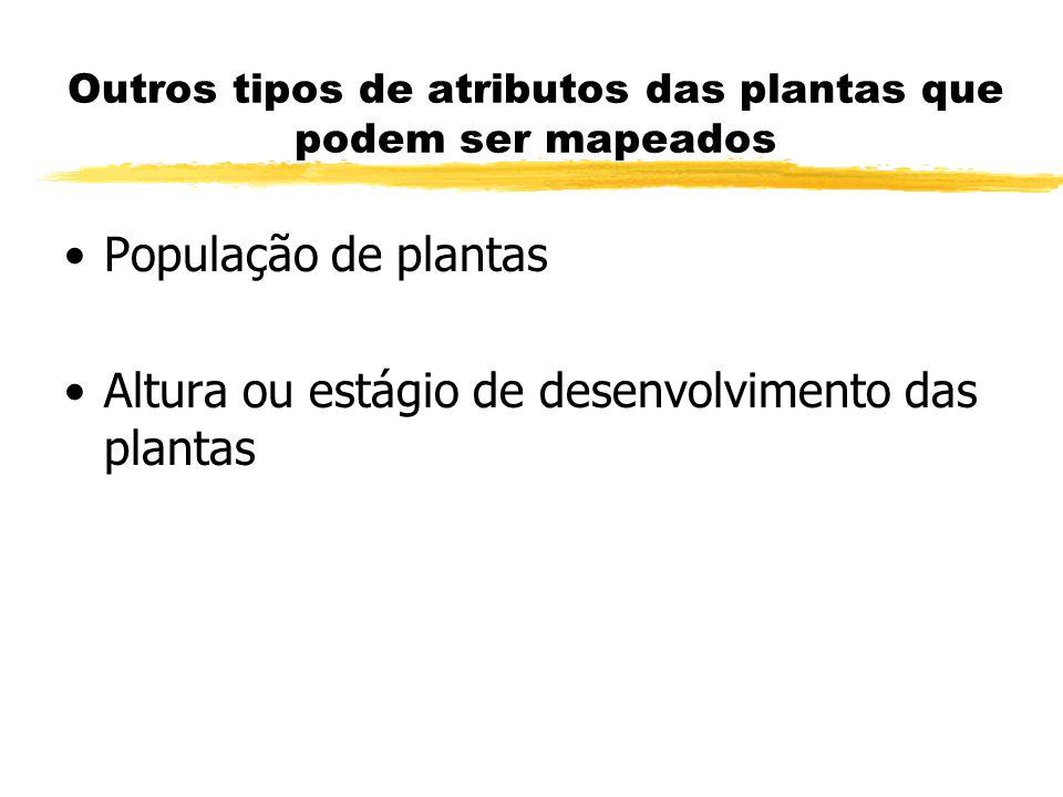 Outros tipos de atributos das plantas que podem ser mapeados População de plantas Altura ou estágio de desenvolvimento das plantas