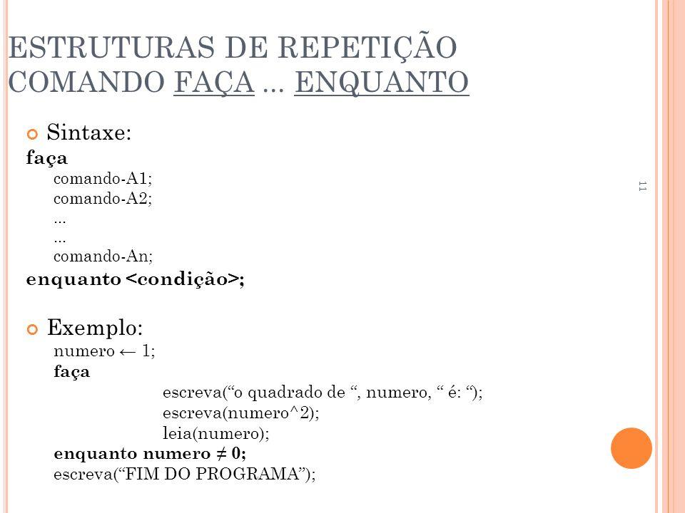 ESTRUTURAS DE REPETIÇÃO COMANDO FAÇA... ENQUANTO Sintaxe: faça comando-A1; comando-A2;... comando-An; enquanto ; Exemplo: numero 1; faça escreva(o qua