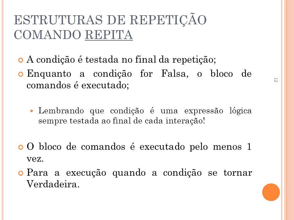 ESTRUTURAS DE REPETIÇÃO COMANDO REPITA A condição é testada no final da repetição; Enquanto a condição for Falsa, o bloco de comandos é executado; Lem