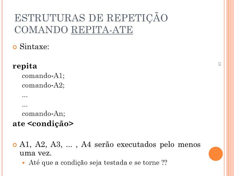 ESTRUTURAS DE REPETIÇÃO COMANDO REPITA-ATE Sintaxe: repita comando-A1; comando-A2;... comando-An; ate A1, A2, A3,..., A4 serão executados pelo menos u