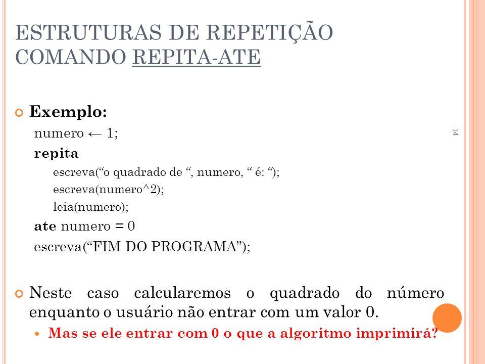 ESTRUTURAS DE REPETIÇÃO COMANDO REPITA-ATE Exemplo: numero 1; repita escreva(o quadrado de, numero, é: ); escreva(numero^2); leia(numero); ate numero