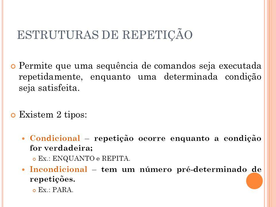 ESTRUTURAS DE REPETIÇÃO - COMANDO ENQUANTO Comando enquanto.
