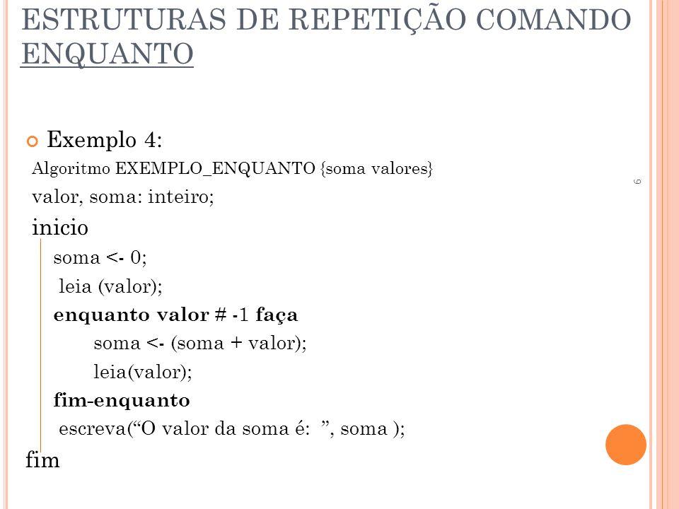 ESTRUTURAS DE REPETIÇÃO COMANDO ENQUANTO Exemplo 4: Algoritmo EXEMPLO_ENQUANTO {soma valores} valor, soma: inteiro; inicio soma <- 0; leia (valor); en