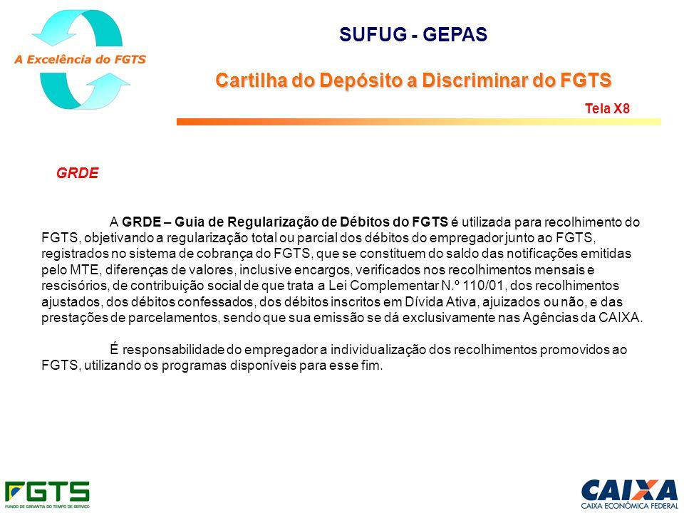 GRDE A GRDE – Guia de Regularização de Débitos do FGTS é utilizada para recolhimento do FGTS, objetivando a regularização total ou parcial dos débitos