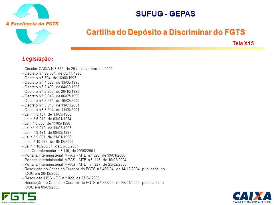 Legislação : - Circular CAIXA N.º 372, de 25 de novembro de 2005 - Decreto n.º 99.684, de 08/11/1990 - Decreto n.º 894, de 16/08/1993 - Decreto n.º 1.