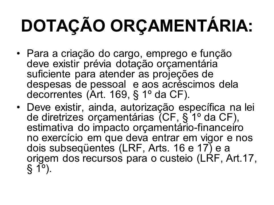 DOTAÇÃO ORÇAMENTÁRIA: Para a criação do cargo, emprego e função deve existir prévia dotação orçamentária suficiente para atender as projeções de despe