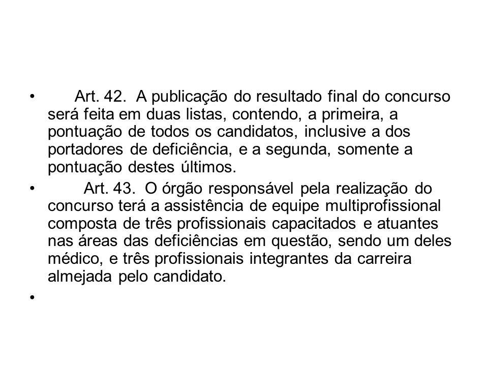 Art. 42. A publicação do resultado final do concurso será feita em duas listas, contendo, a primeira, a pontuação de todos os candidatos, inclusive a