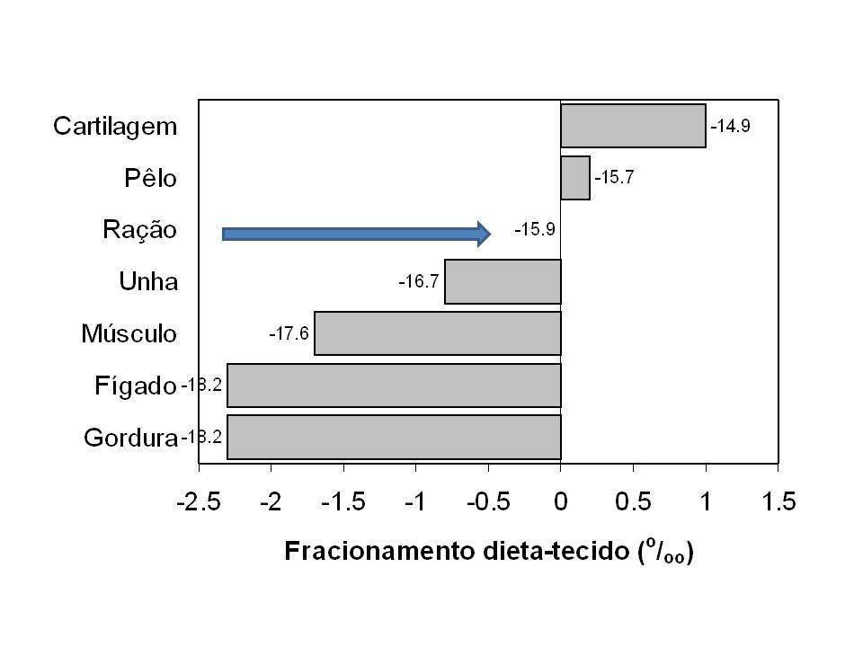 13 C lipídios < 13 C total = 13 C glicogênio = 13 C proteína