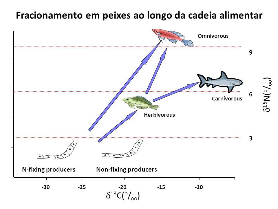 Fracionamento em peixes ao longo da cadeia alimentar N-fixing producersNon-fixing producers 6 3 9 Herbivorous Omnivorous Carnivorous 13 C( o / oo ) 15