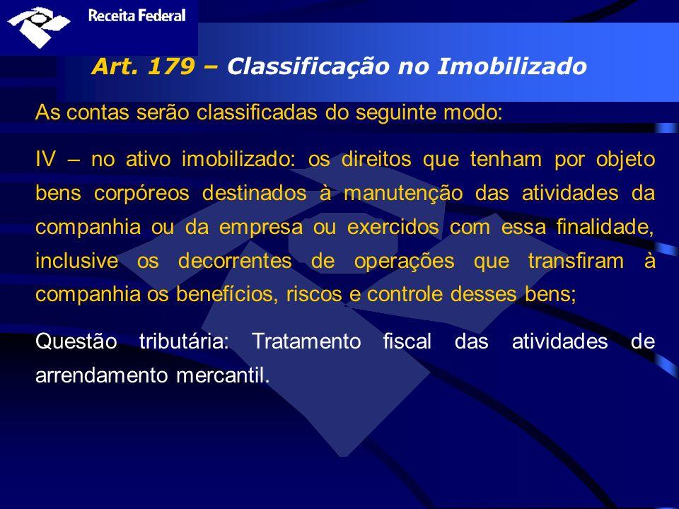 Art. 179 – Classificação no Imobilizado As contas serão classificadas do seguinte modo: IV – no ativo imobilizado: os direitos que tenham por objeto b