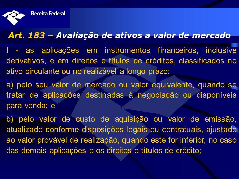 Art. 183 – Avaliação de ativos a valor de mercado I - as aplicações em instrumentos financeiros, inclusive derivativos, e em direitos e títulos de cré