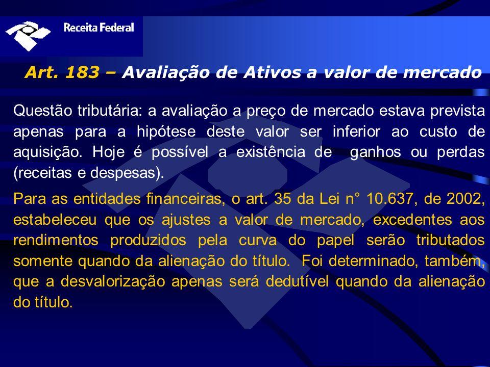 Art. 183 – Avaliação de Ativos a valor de mercado Questão tributária: a avaliação a preço de mercado estava prevista apenas para a hipótese deste valo