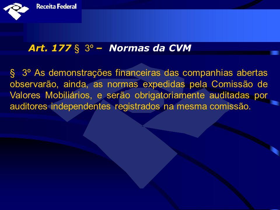 Art. 177 § 3º – Normas da CVM § 3º As demonstrações financeiras das companhias abertas observarão, ainda, as normas expedidas pela Comissão de Valores