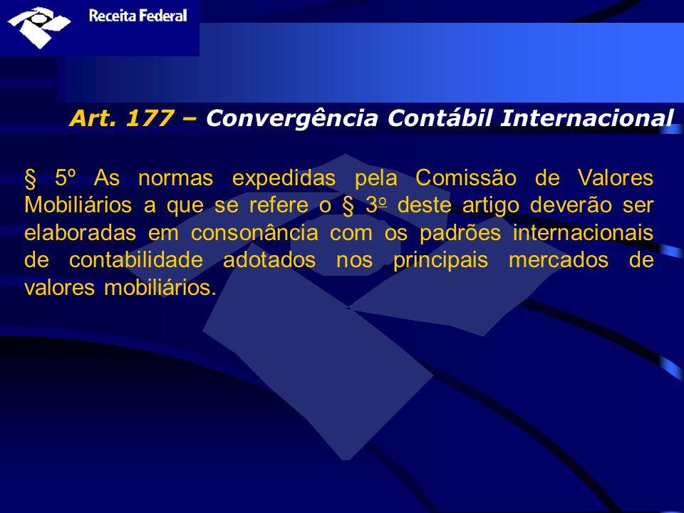 Art. 177 – Convergência Contábil Internacional § 5º As normas expedidas pela Comissão de Valores Mobiliários a que se refere o § 3 o deste artigo deve