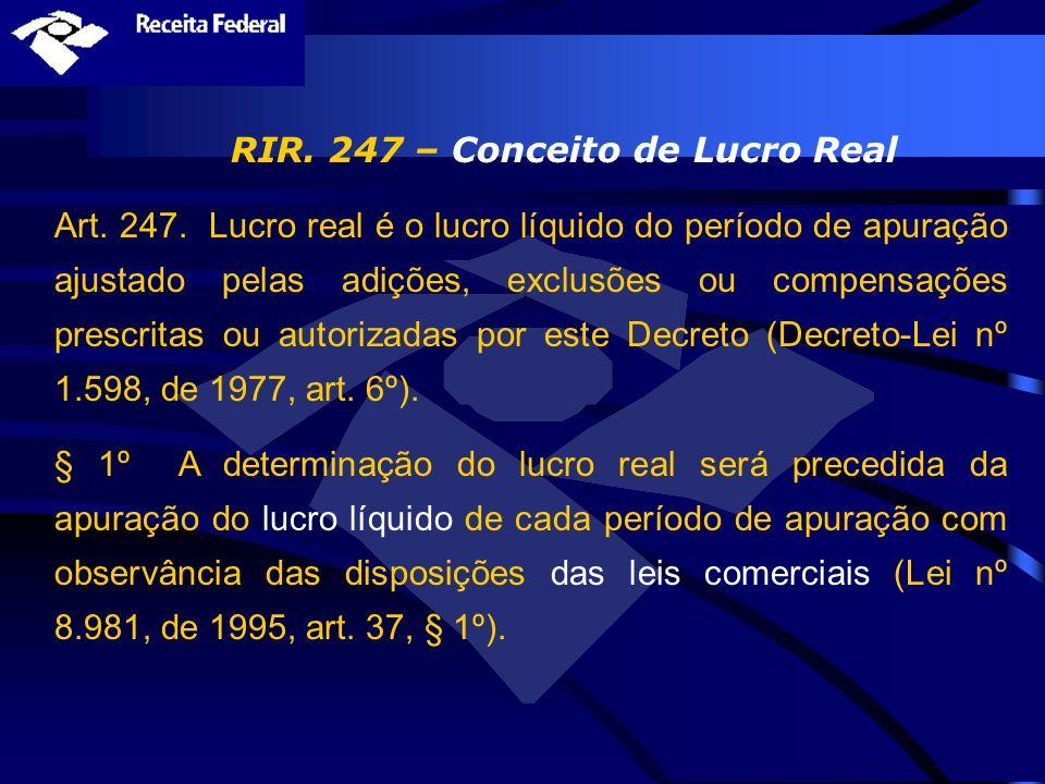 RIR. 247 – Conceito de Lucro Real Art. 247. Lucro real é o lucro líquido do período de apuração ajustado pelas adições, exclusões ou compensações pres