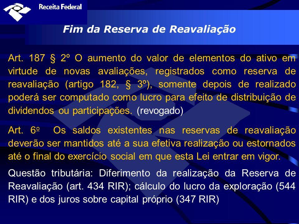Fim da Reserva de Reavaliação Art. 187 § 2º O aumento do valor de elementos do ativo em virtude de novas avaliações, registrados como reserva de reava