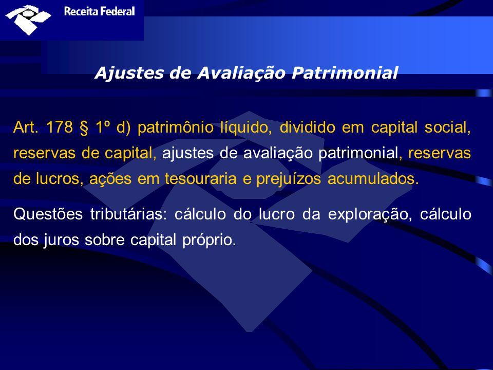 Ajustes de Avaliação Patrimonial Art. 178 § 1º d) patrimônio líquido, dividido em capital social, reservas de capital, ajustes de avaliação patrimonia