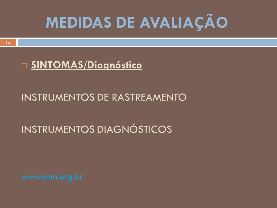 MEDIDAS DE AVALIAÇÃO 15 SINTOMAS/Diagnóstico INSTRUMENTOS DE RASTREAMENTO INSTRUMENTOS DIAGNÓSTICOS www.ama.org.br