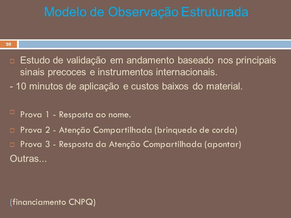 Modelo de Observação Estruturada - 20 Estudo de validação em andamento baseado nos principais sinais precoces e instrumentos internacionais. - 10 minu