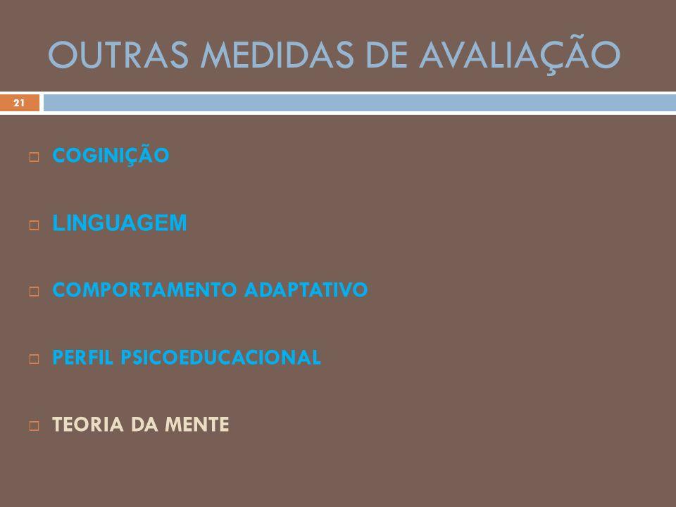OUTRAS MEDIDAS DE AVALIAÇÃO 21 COGINIÇÃO LINGUAGEM COMPORTAMENTO ADAPTATIVO PERFIL PSICOEDUCACIONAL TEORIA DA MENTE