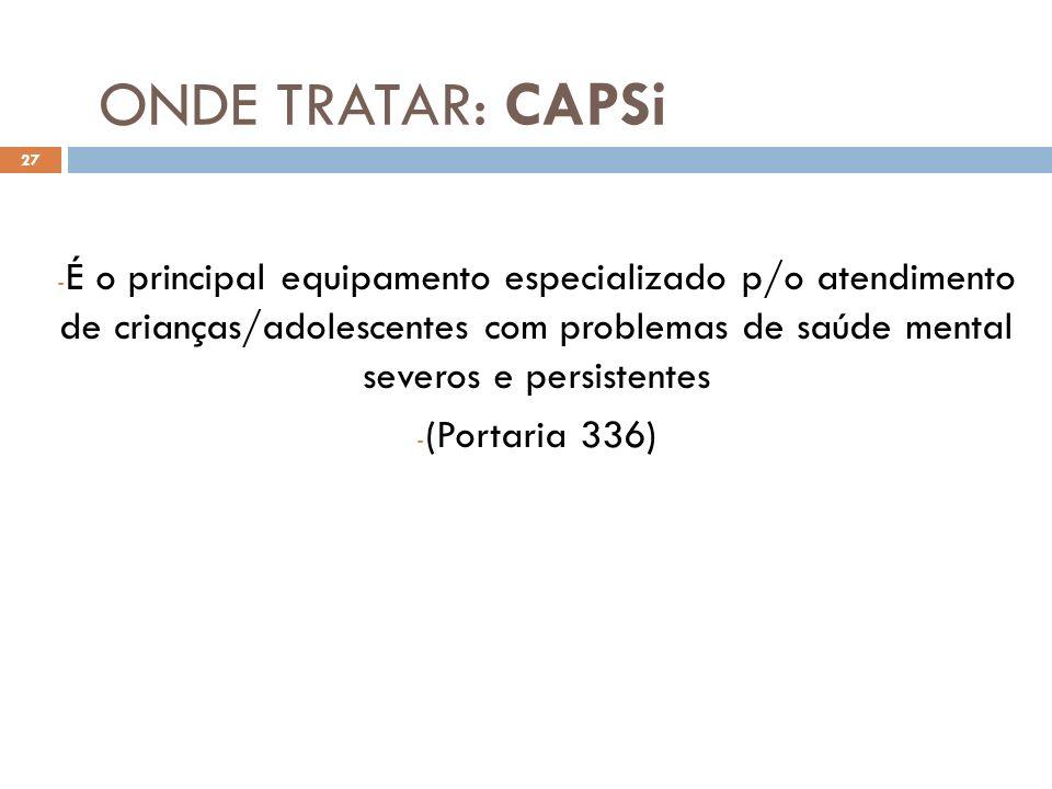ONDE TRATAR: CAPSi - É o principal equipamento especializado p/o atendimento de crianças/adolescentes com problemas de saúde mental severos e persiste