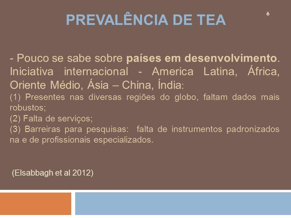 - Pouco se sabe sobre países em desenvolvimento. Iniciativa internacional - America Latina, África, Oriente Médio, Ásia – China, Índia : (1) Presentes
