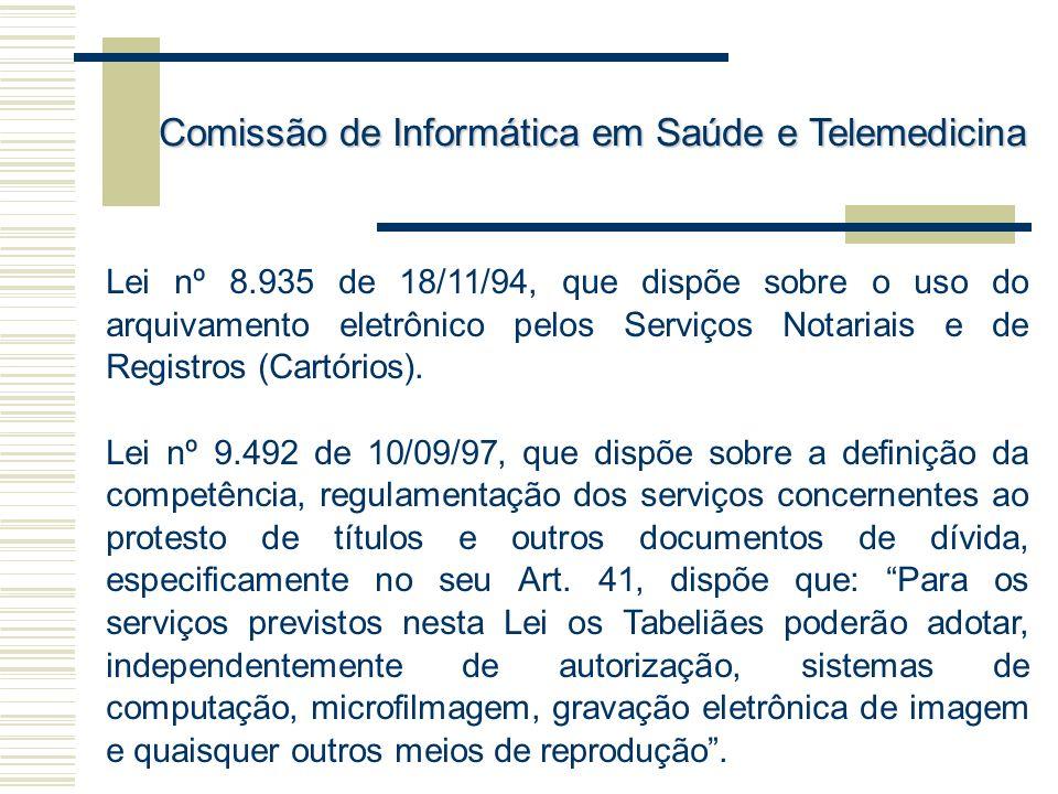 Lei nº 8.935 de 18/11/94, que dispõe sobre o uso do arquivamento eletrônico pelos Serviços Notariais e de Registros (Cartórios). Lei nº 9.492 de 10/09