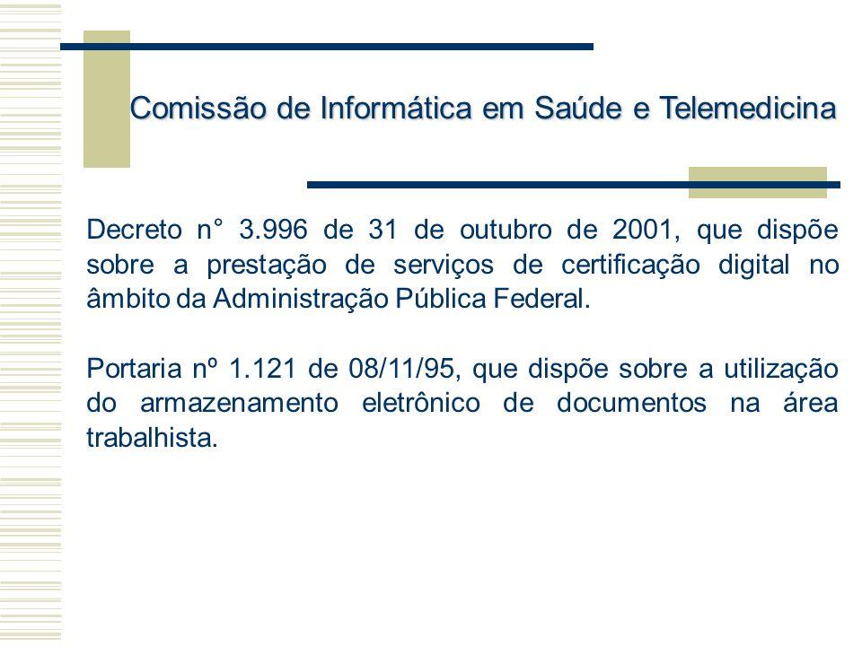 Decreto n° 3.996 de 31 de outubro de 2001, que dispõe sobre a prestação de serviços de certificação digital no âmbito da Administração Pública Federal