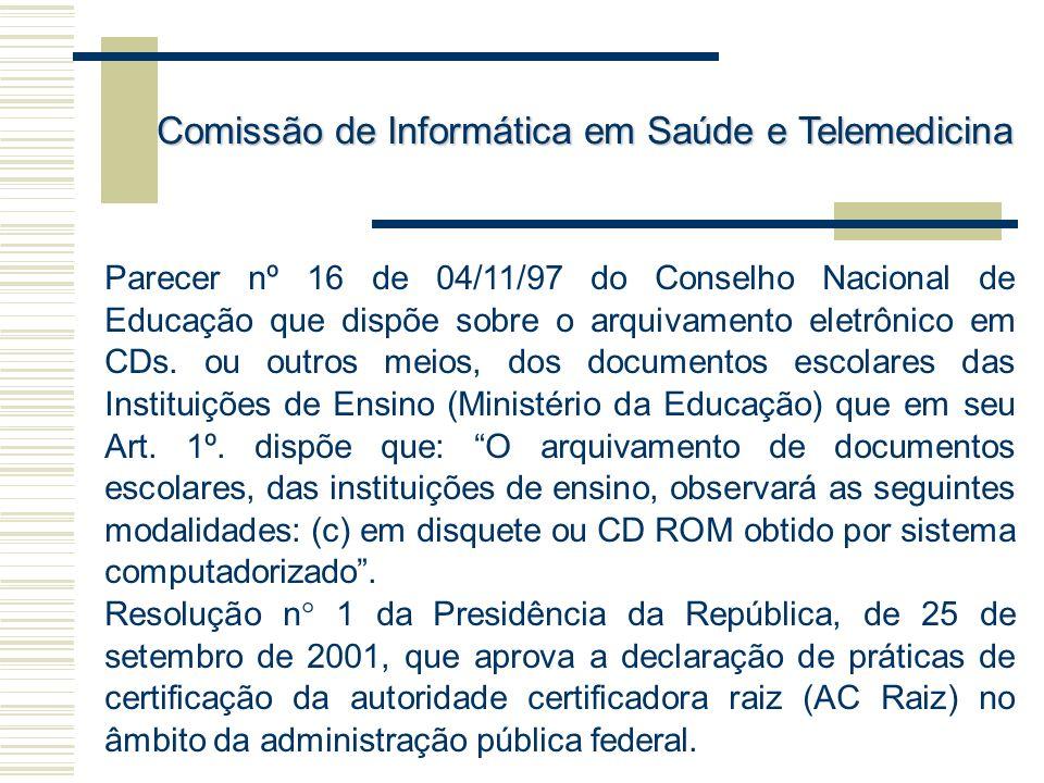 Parecer nº 16 de 04/11/97 do Conselho Nacional de Educação que dispõe sobre o arquivamento eletrônico em CDs. ou outros meios, dos documentos escolare