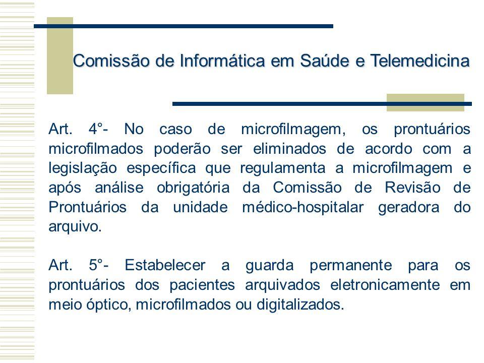 Art. 4°- No caso de microfilmagem, os prontuários microfilmados poderão ser eliminados de acordo com a legislação específica que regulamenta a microfi