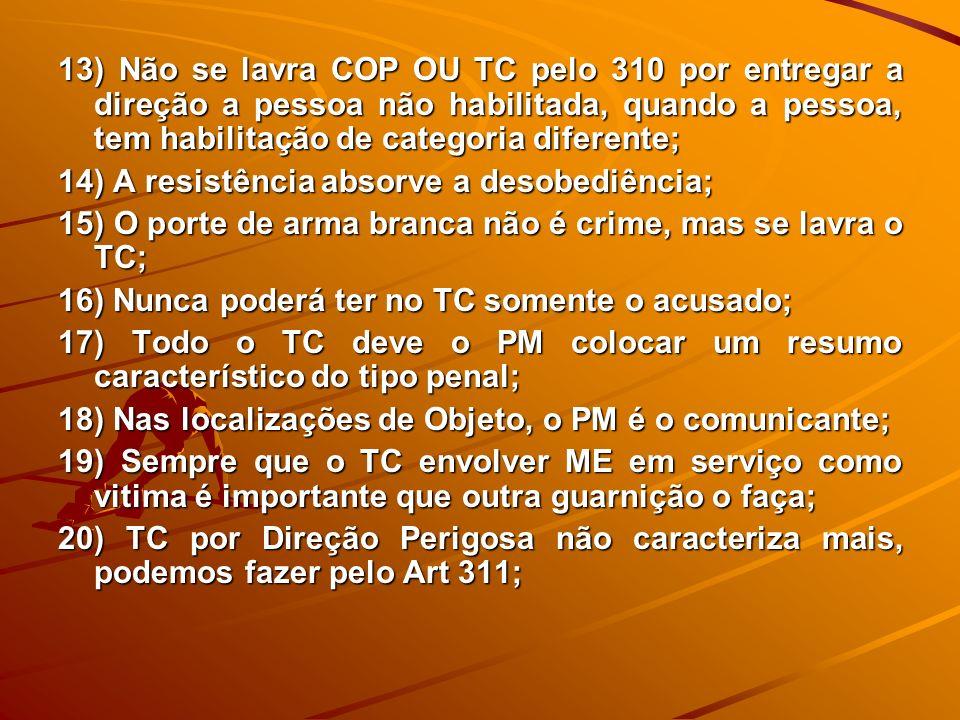 13) Não se lavra COP OU TC pelo 310 por entregar a direção a pessoa não habilitada, quando a pessoa, tem habilitação de categoria diferente; 14) A res