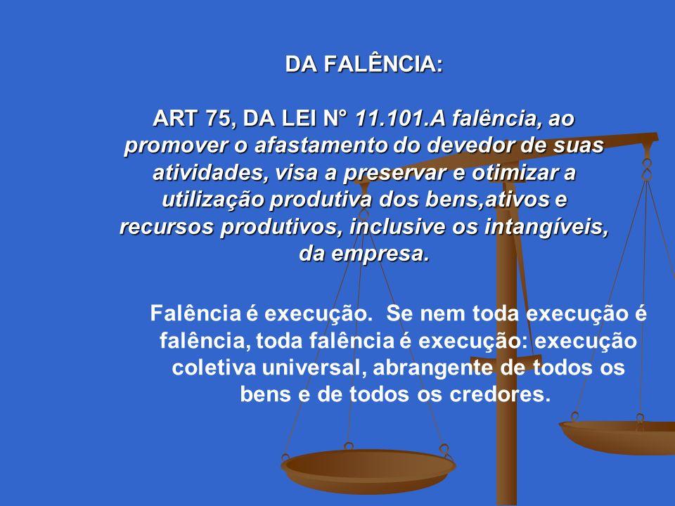 DA FALÊNCIA: ART 75, DA LEI N° 11.101.A falência, ao promover o afastamento do devedor de suas atividades, visa a preservar e otimizar a utilização pr