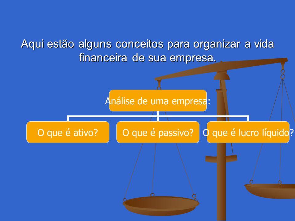 Aqui estão alguns conceitos para organizar a vida financeira de sua empresa. Análise de uma empresa: O que é ativo? O que é passivo? O que é lucro líq