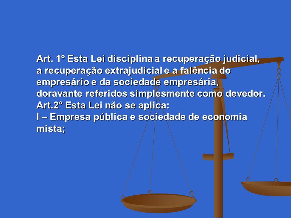 Art. 1º Esta Lei disciplina a recuperação judicial, a recuperação extrajudicial e a falência do empresário e da sociedade empresária, doravante referi