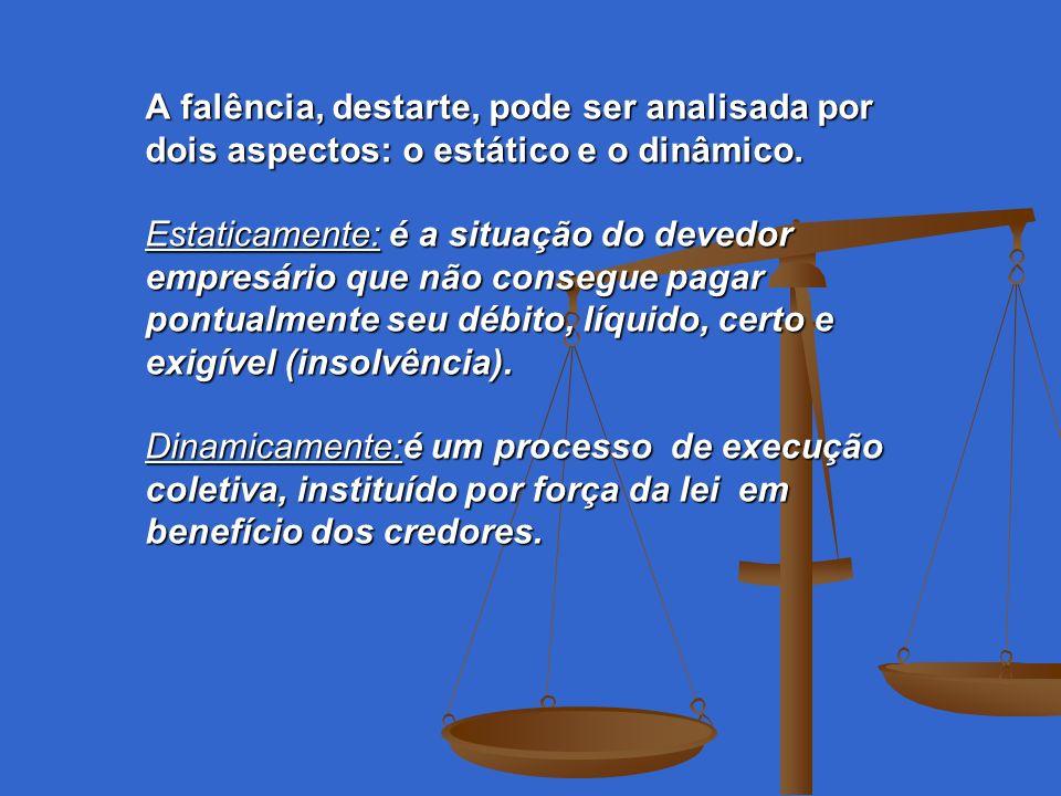 A falência, destarte, pode ser analisada por dois aspectos: o estático e o dinâmico.
