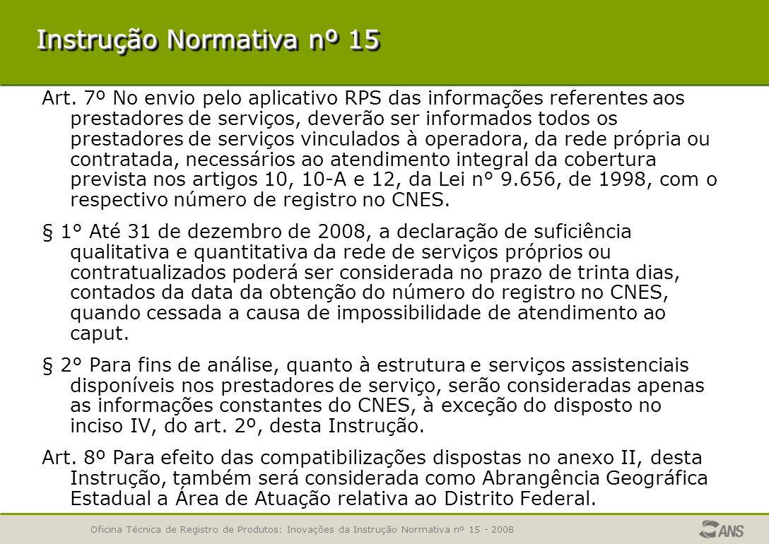 Oficina Técnica de Registro de Produtos: Inovações da Instrução Normativa nº 15 - 2008 Art.