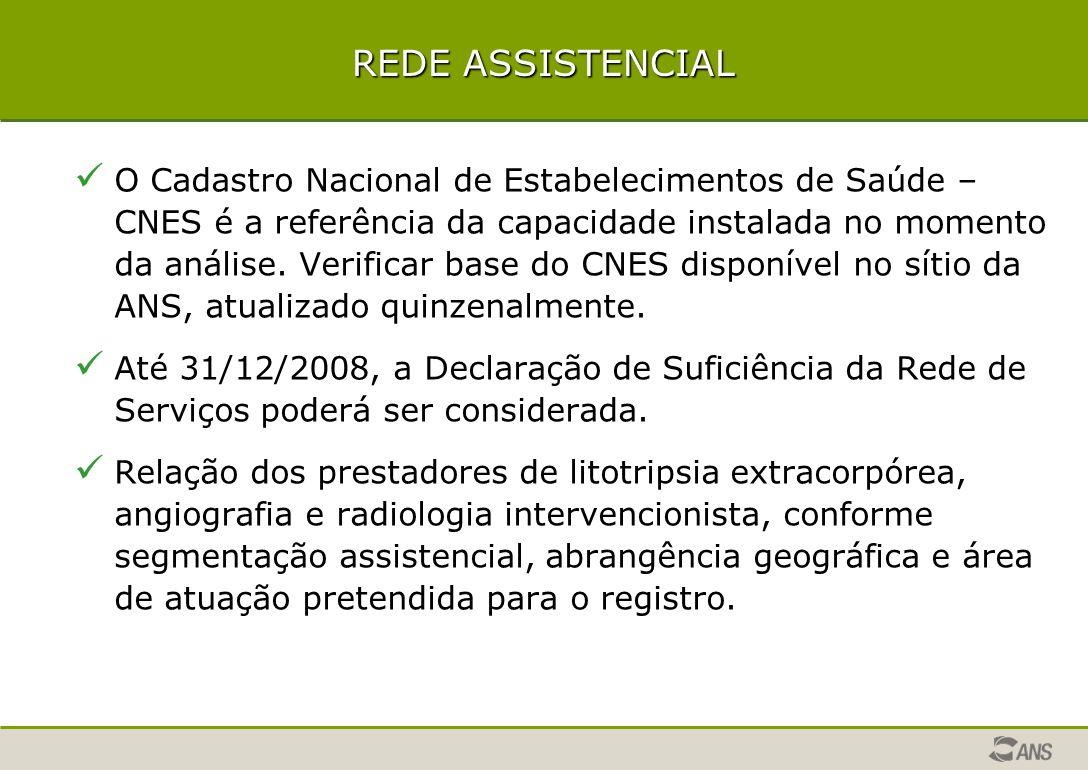 REDE ASSISTENCIAL O Cadastro Nacional de Estabelecimentos de Saúde – CNES é a referência da capacidade instalada no momento da análise.