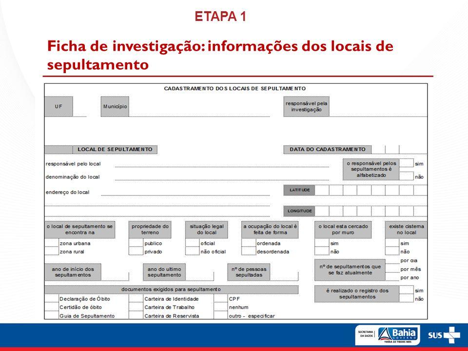 http://svs.aids.gov.br/collect/public/login/login.page Página web para notificação de locais de sepultamento Portal SVS Collect ETAPA 1