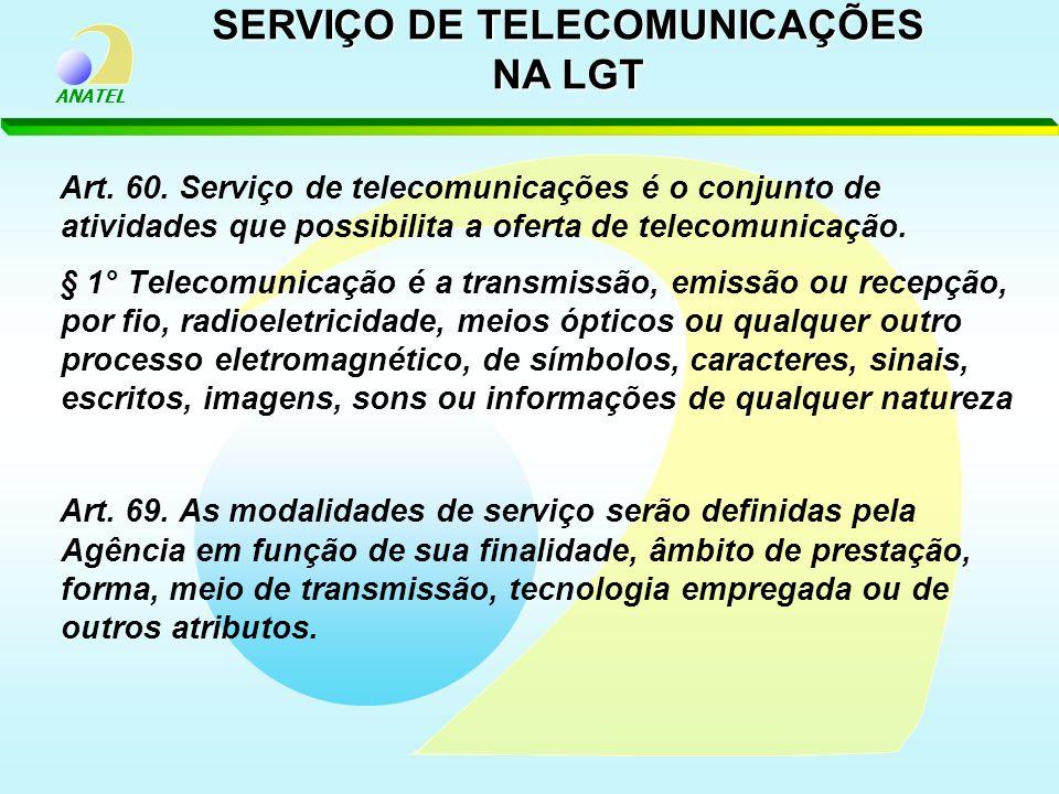 ANATEL Art. 60. Serviço de telecomunicações é o conjunto de atividades que possibilita a oferta de telecomunicação. § 1° Telecomunicação é a transmiss