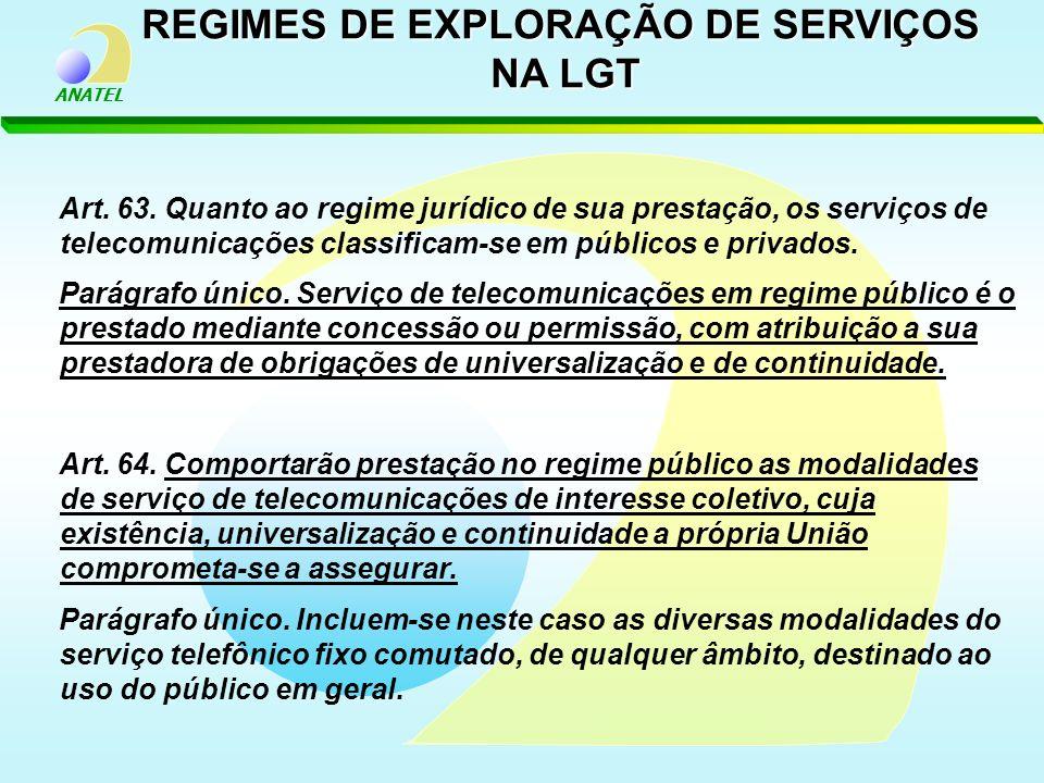 ANATEL Art. 63. Quanto ao regime jurídico de sua prestação, os serviços de telecomunicações classificam-se em públicos e privados. Parágrafo único. Se