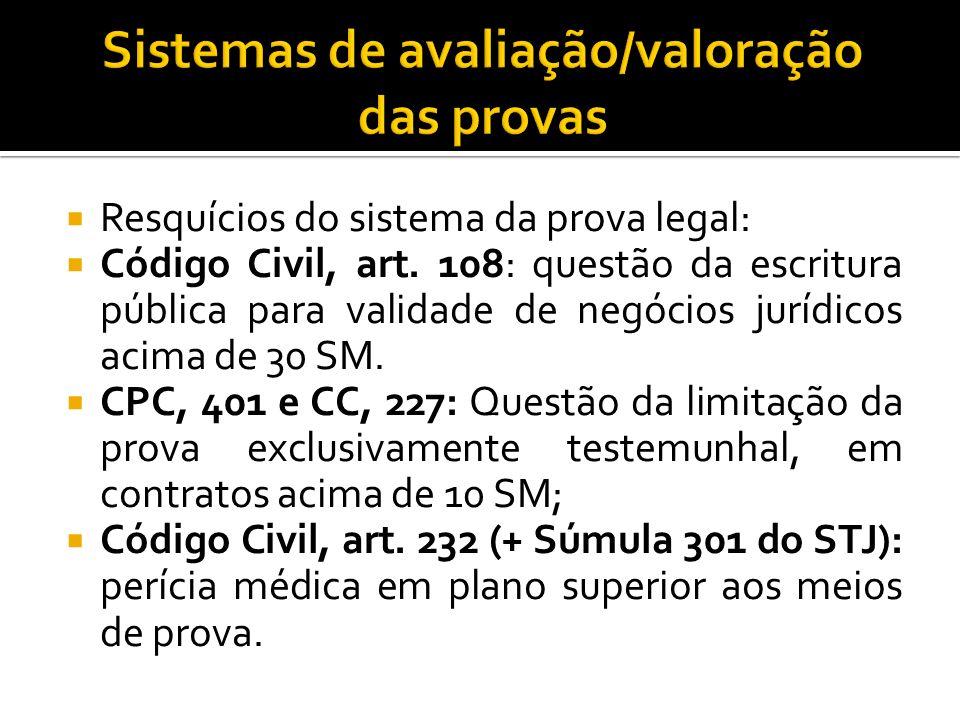 Resquícios do sistema da prova legal: Código Civil, art. 108: questão da escritura pública para validade de negócios jurídicos acima de 30 SM. CPC, 40