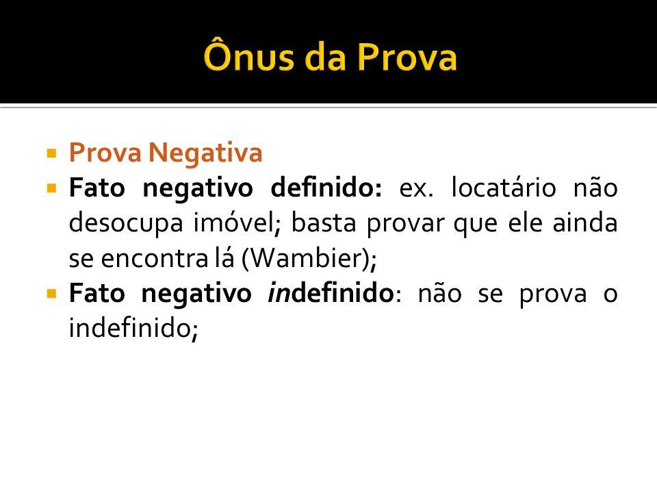 Prova Negativa Fato negativo definido: ex. locatário não desocupa imóvel; basta provar que ele ainda se encontra lá (Wambier); Fato negativo indefinid