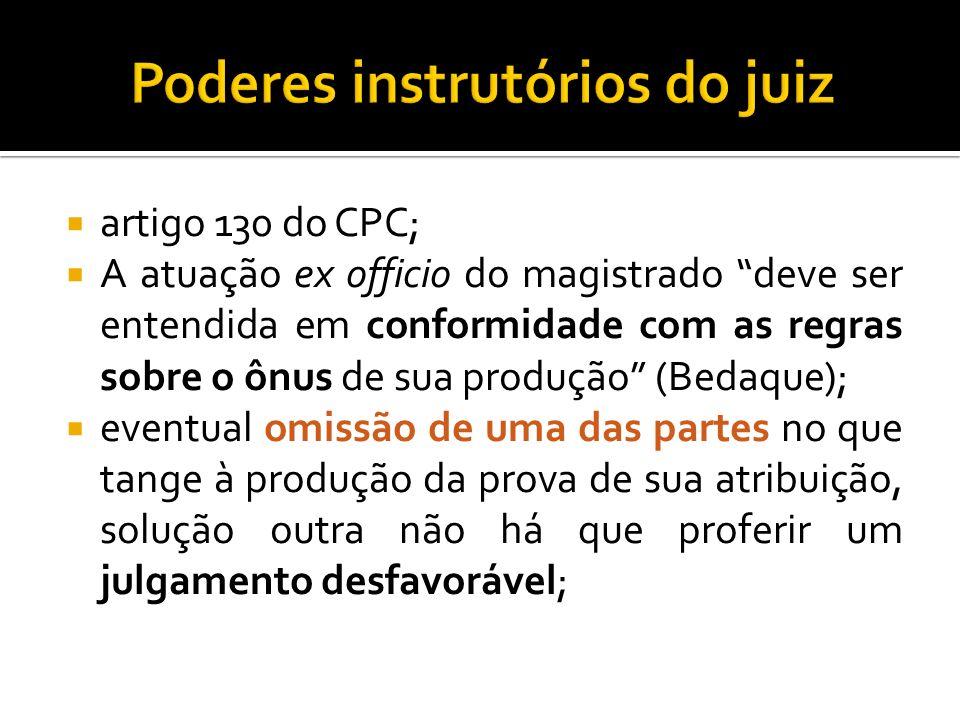 artigo 130 do CPC; A atuação ex officio do magistrado deve ser entendida em conformidade com as regras sobre o ônus de sua produção (Bedaque); eventua