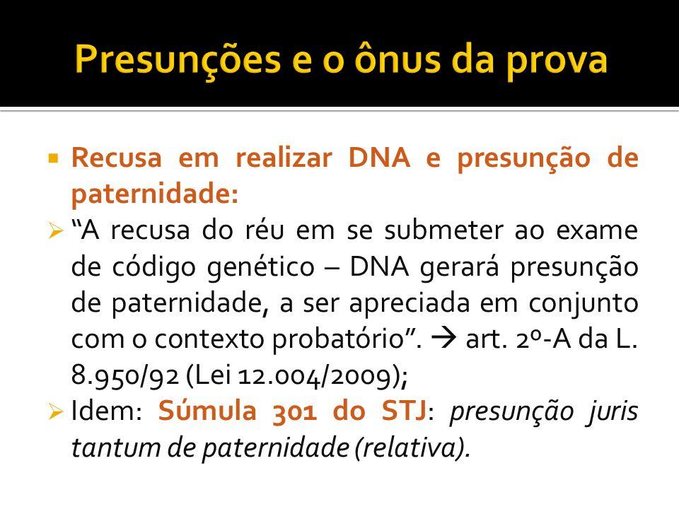 Recusa em realizar DNA e presunção de paternidade: A recusa do réu em se submeter ao exame de código genético – DNA gerará presunção de paternidade, a