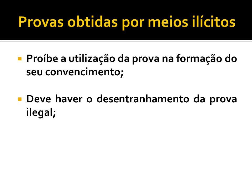 Proíbe a utilização da prova na formação do seu convencimento; Deve haver o desentranhamento da prova ilegal;