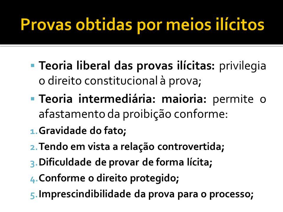 Teoria liberal das provas ilícitas: privilegia o direito constitucional à prova; Teoria intermediária: maioria: permite o afastamento da proibição con