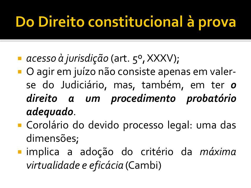 acesso à jurisdição (art. 5º, XXXV); O agir em juízo não consiste apenas em valer- se do Judiciário, mas, também, em ter o direito a um procedimento p