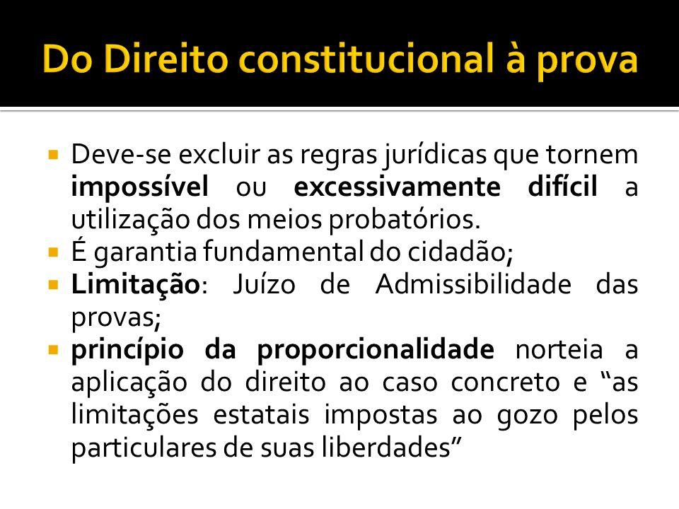Deve-se excluir as regras jurídicas que tornem impossível ou excessivamente difícil a utilização dos meios probatórios. É garantia fundamental do cida