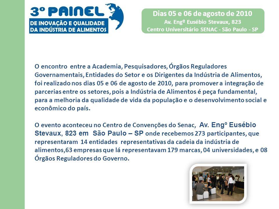 Dias 05 e 06 de agosto de 2010 Av. Engº Eusébio Stevaux, 823 Centro Universitário SENAC - São Paulo - SP O encontro entre a Academia, Pesquisadores, Ó
